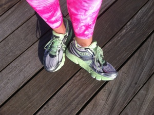 Running on the boardwalk with my new cool green sneakers (I have very supportive sneakers as you can see)
