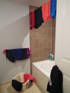Our bathroom/clothes drying rack - we need to put a clothes drying rack in our bathtub.