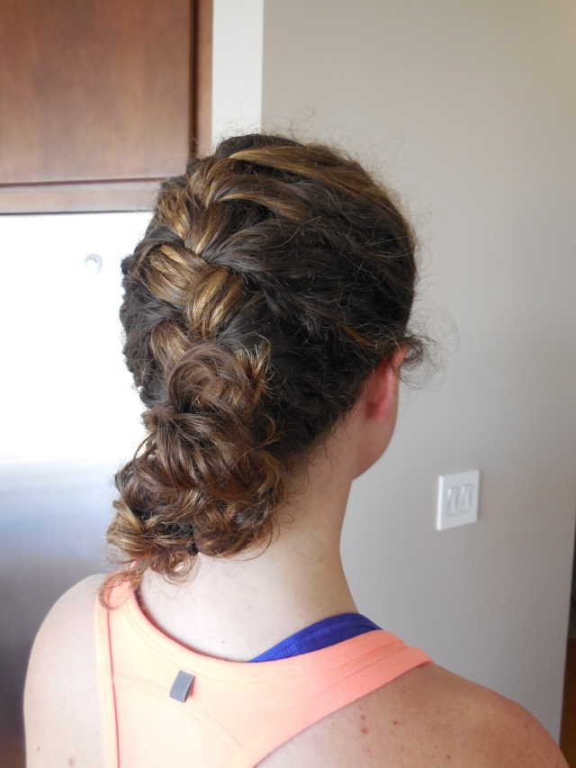 Curly hair french braid