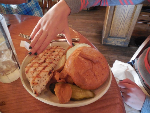 Huge piece of chicken - my hand to put in perspective
