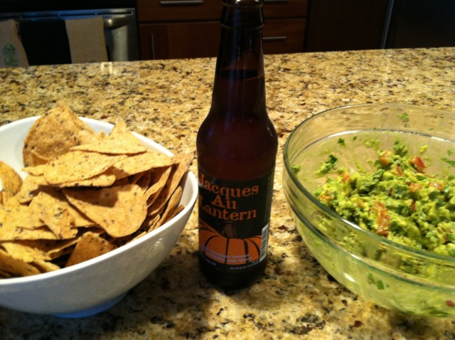 Homemade guacamole and Jacques 'O Lantern beer