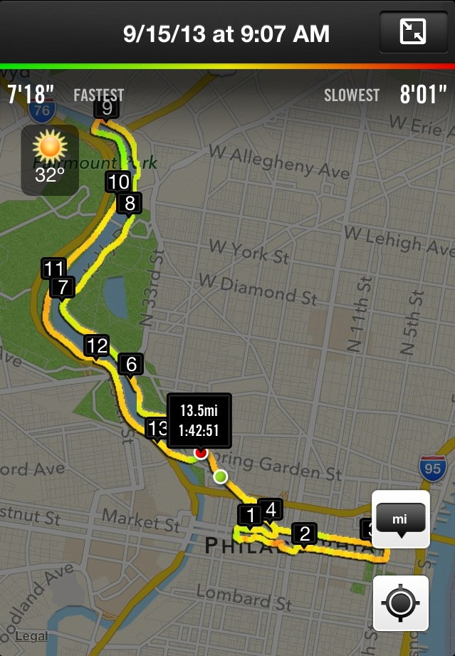 2013 Rock n Roll Philadelphia Half Marathon Route (shown through Nike+ with pace gradient)