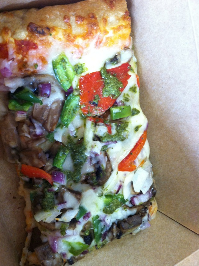 Yum... veggie pizza with pesto!