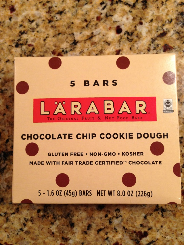 Pre-race bar.  We love that Larabar ingredients are only cashews, dates, chocolate chips and sea salt.  Favorite flavor!