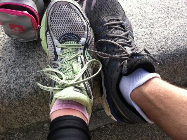 My cut foot.  Mike's cool socks