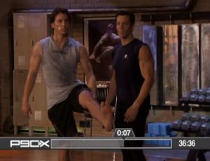 P90X YogaX original - Daniel Haas holding up his leg