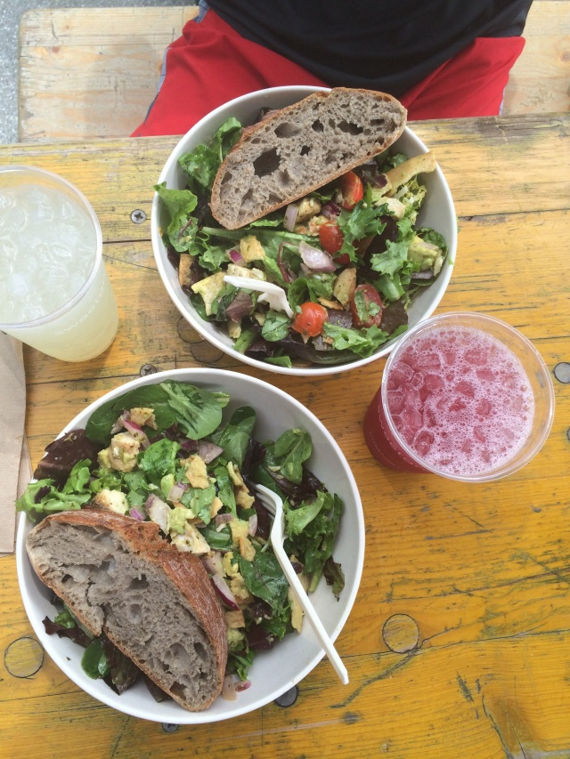 Post-run Sweetgreen salads and lemonade