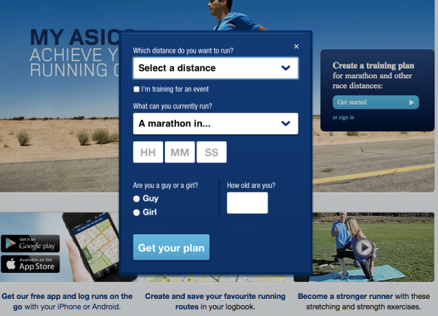 myasics.com home screen