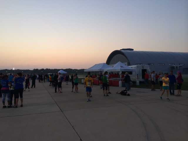 Packet pick up area with the hangar in the background.