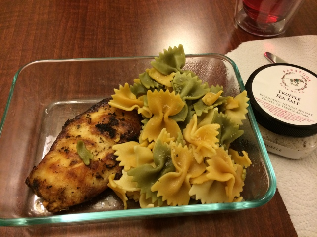 We brought grilled chicken and pasta we had made last night at home.  I LOVE truffle salt on my pasta/anything