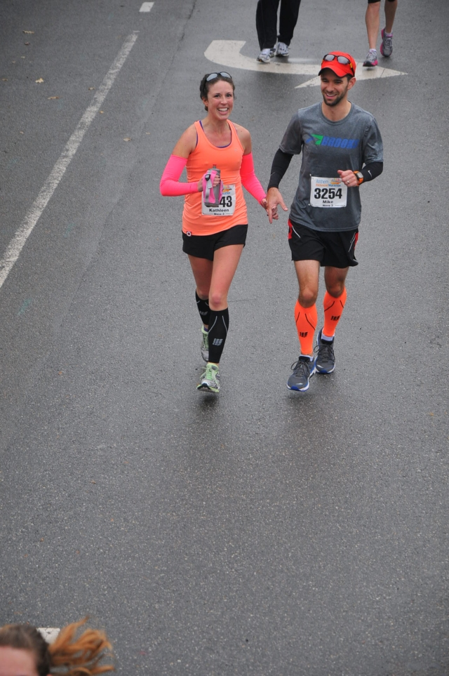 Finishing the 2013 Richmond Marathon - our first marathon