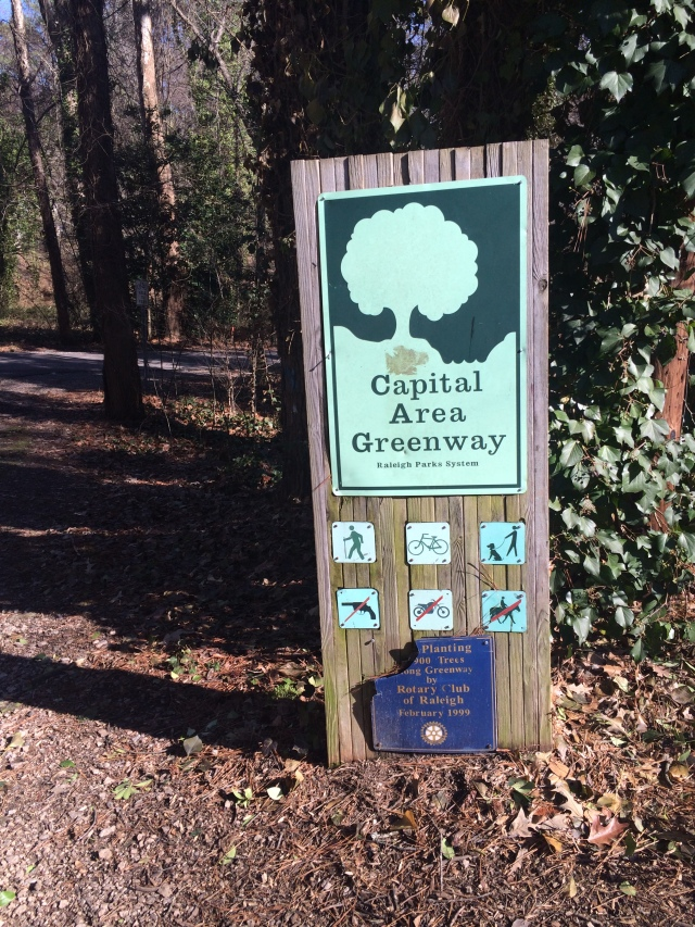 Crabtree Creek Greenway entrance off Allegheny