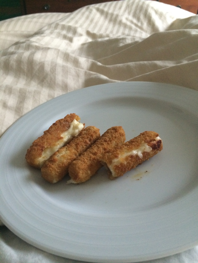Mozzarella sticks in bed at 4 pm - finally getting an appetite back