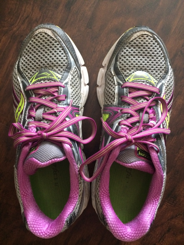 Old Saucony Omnis from October through Nov. Marathon to now (probably too many miles on these guys)
