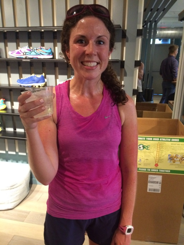 Extremely sweaty after the 90 degree run - nuunarita hits the spot!