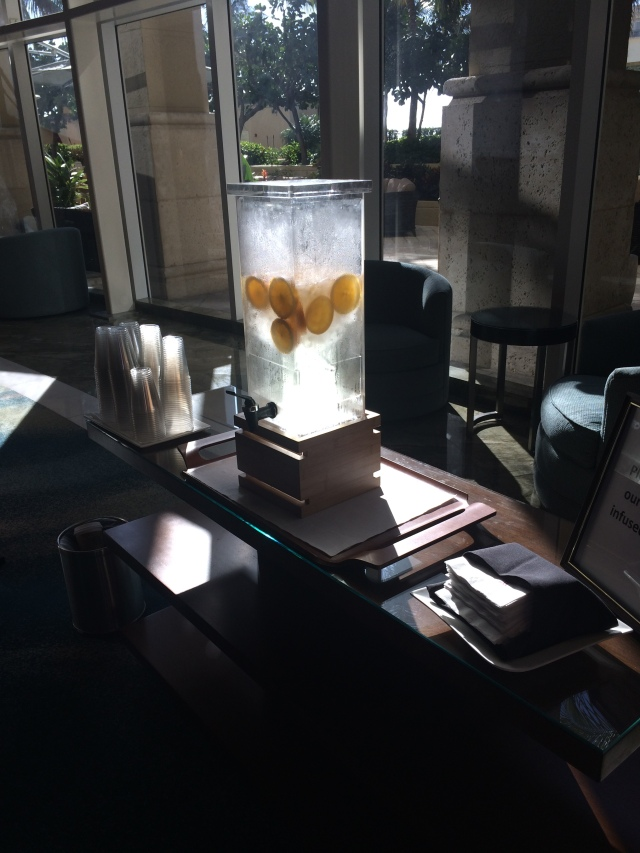 Delicious lemon water in hotel lobby