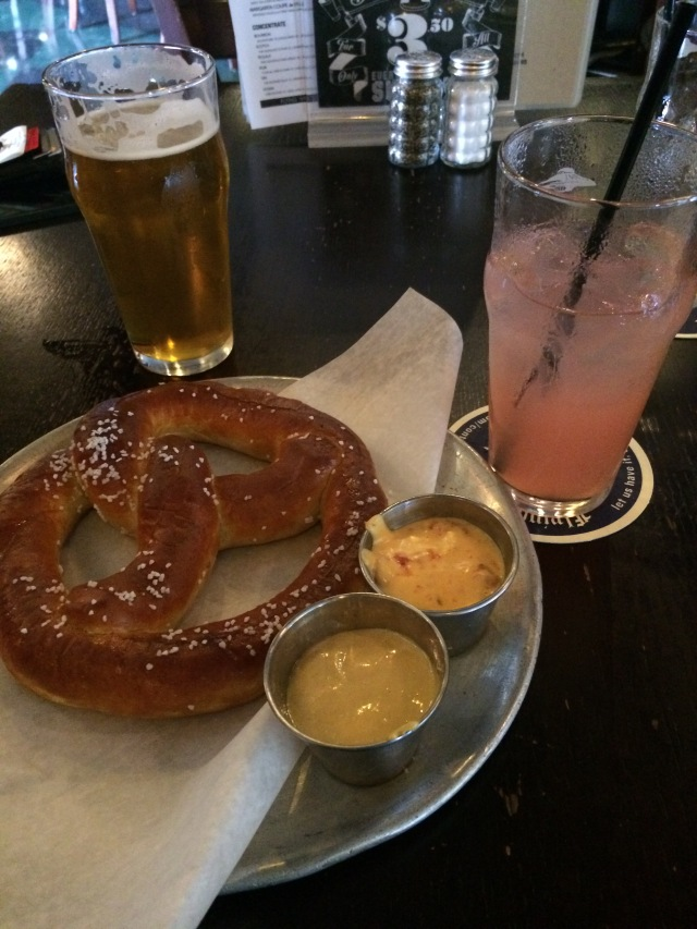 Post-run pretzel at Flying Saucer. Things have changed a bit - pink lemonade for me!