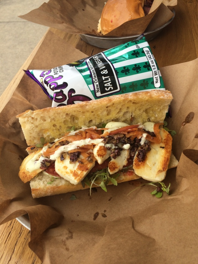 Griddled haloumi cheese sandwich - the saltiness post-run hit the spot!